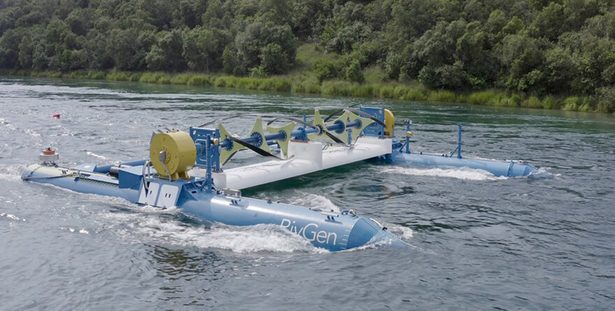 Generator on river turbine