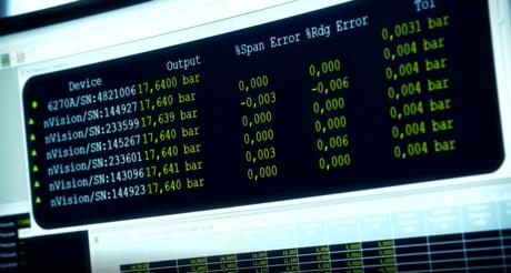 Resultater på skjerm fra Intab datalogger med PC og easyview