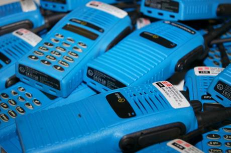 A bunch of radio devices used for safe communication in hazardous ATEX environments